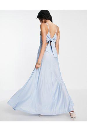 ASOS Damen Lange Kleider - Cami plunge tie back maxi dress in blue