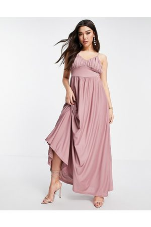 ASOS Spaghetti strap ruched bust maxi dress in rose-Pink