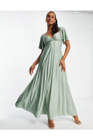 ASOS Damen Lange Kleider - Pleated twist back cap sleeve maxi dress in green
