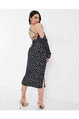 Koco & K Off shoulder strappy back midi dress in ditsy print-Multi