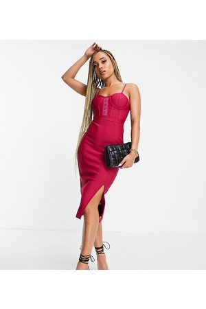 Band of Stars Bandage corset bust detail midi dress with split front detail in fuchsia-Pink