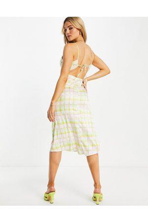 ASOS Cami ruched strappy back satin midi dress in check print-Multi