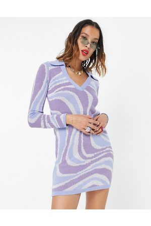 ASOS Knitted mini dress with open collar in swirl pattern-Blue