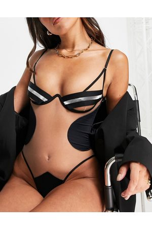 God Save Queens Exclusive Lottie shimmer bandage sheer contour body in black