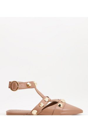 ASOS Wide Fit Lorina studded ballet flats in tan-Brown