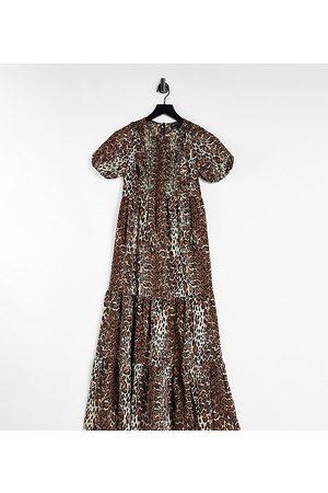ASOS Maternity shirred bodice tiered maxi dress in animal print-Multi