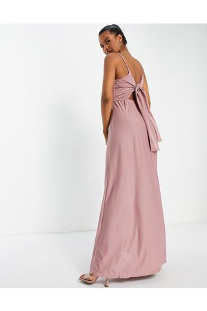 ASOS Cami plunge tie back maxi dress in rose-Pink