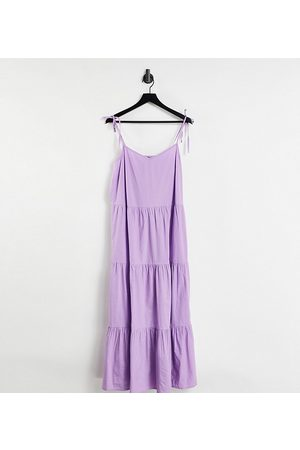 Pieces Plus Pieces Curve strappy tiered midi dress in lilac-Purple