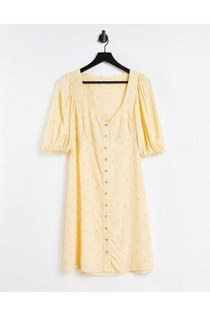 Envii Daisy mini dress in yellow spot