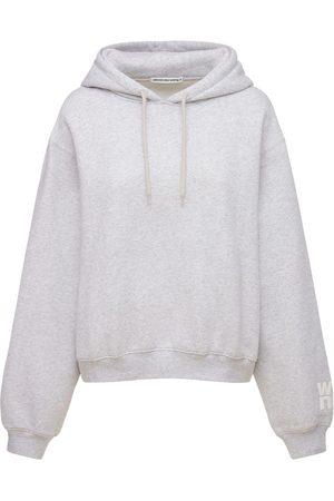 Alexander Wang Damen Sweatshirts - Hoodie Aus Stretch-baumwollfleece Mit Logo
