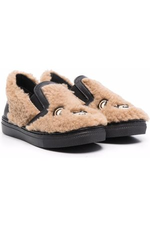 Moschino Signature teddy shearling slippers