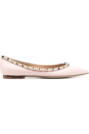 VALENTINO GARAVANI Rockstud pointed toe ballerina shoes