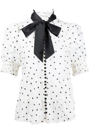 ALICE+OLIVIA Damen Blusen - Polka dot-print tie-fastening blouse