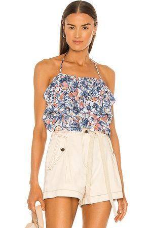 Line & Dot Sunday Ruffle Tropical Print Halter Top in - Blue. Size L (also in M).