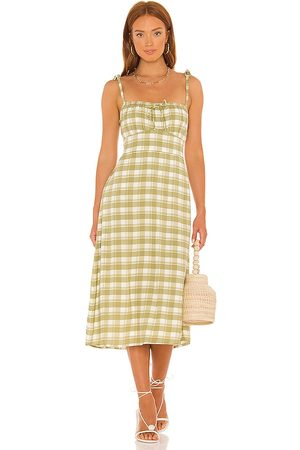 FAITHFULL THE BRAND Raven Midi Dress in - Olive. Size L (also in XS, S, M, XL).