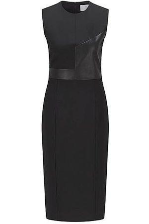 HUGO BOSS Damen Etuikleider - Slim-Fit Kleid mit Kunstleder-Details