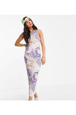 Weekday Stella exclusive organic blend cotton midi dress in marble print-Multi