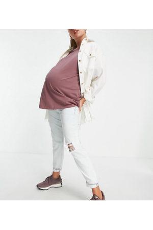 River Island Damen Baggy & Boyfriend - Carrie overbump bleached mom jeans in light auth blue
