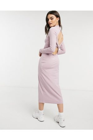 Weekday Begonia organic blend cotton cut out back midi dress in dusty pink