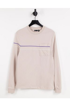 ASOS DESIGN Long sleeve t shirt with piping detail and pocket in -Neutral