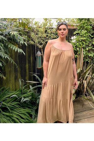 ASOS ASOS DESIGN Curve strappy maxi dress with asym hem detail in tan-Brown