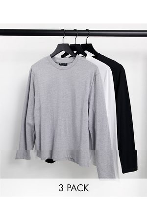 ASOS Organic Cotton Blend 3 pack long sleeve t-shirt with crew neck-Multi