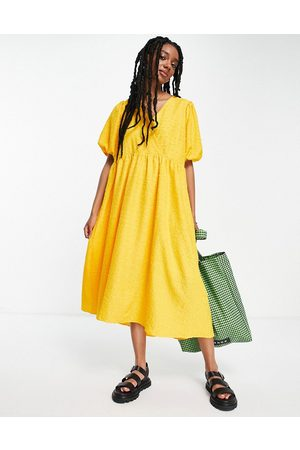SELECTED Femme midi textured dress in yellow