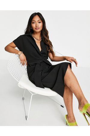 ASOS DESIGN Collared wrap front midi dress with knot in black
