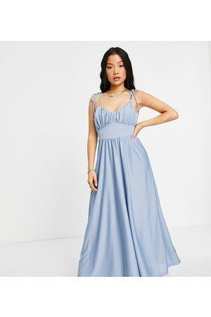 ASOS Petite ASOS DESIGN Petite spaghetti strap ruched bust maxi dress in dusky blue