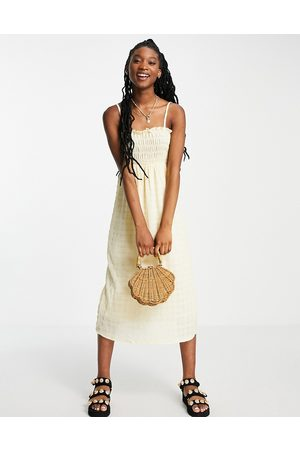 Monki Unni seersucker cami midi dress with tie back in yellow