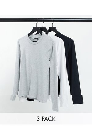 ASOS DESIGN Organic cotton blend 3 pack muscle fit long sleeve t-shirt with crew neck-Multi