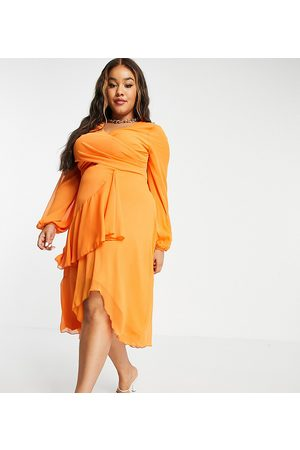 ASOS Curve ASOS DESIGN Curve wrap waist midi dress with double layer skirt and long sleeve in