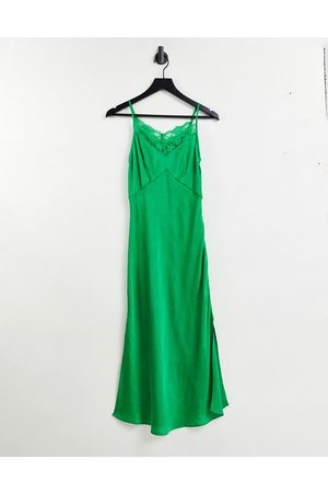 French Connection Dola drape lace slip midi dress in green
