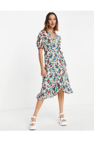Topshop Primary floral ruffle wrap midi dress in multi