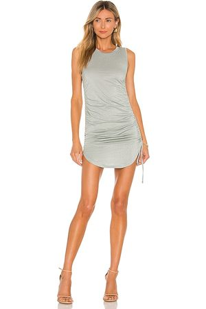 Steve Madden Shimmer Knit Cinch Mini Dress in - Sage. Size L (also in XS, S, M).