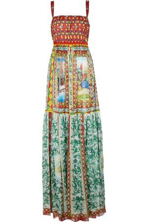 Dolce & Gabbana Bedrucktes Maxikleid aus Seiden-Chiffon