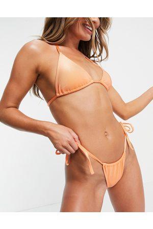ASOS DESIGN Mix and match mirror satin rib tie side bikini bottom in