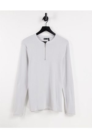 ASOS Muscle fit long sleeve waffle with zip granddad in grey