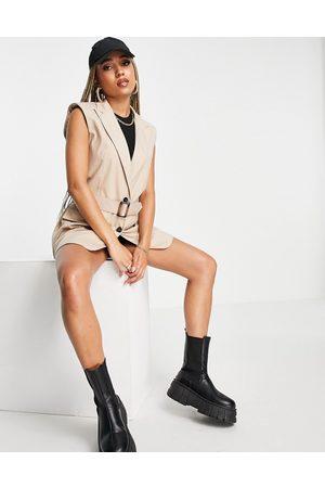 ASOS Belted sleeveless blazer in camel-Neutral