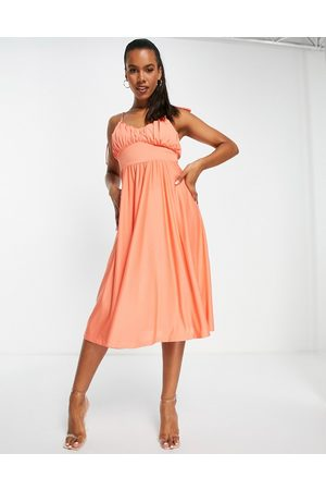 ASOS Spaghetti strap ruched bust midi dress in coral