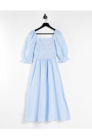 Pimkie Midi tea dress with shirring in blue check