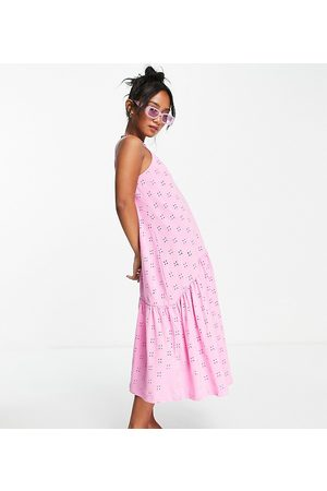 ASOS DESIGN Petite broderie strappy midi dress with drop waist in bubblegum pink