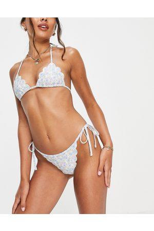 Fashion Union Scallop edge triangle bikini top in pastel floral print-Multi