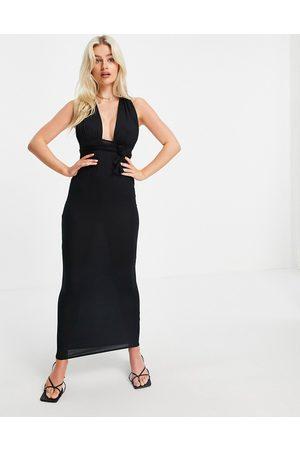 ASOS DESIGN Halter cross front maxi dress in black
