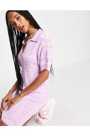 ASOS DESIGN Knitted mini dress with open collar in space dye yarn in pink