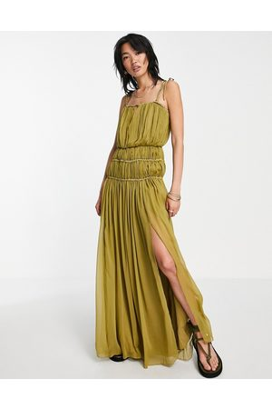 ASOS DESIGN Strappy maxi dress with ruched channel detail and tie straps-Multi