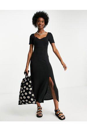 ASOS DESIGN Sweetheart neck ribbed maxi dress in black