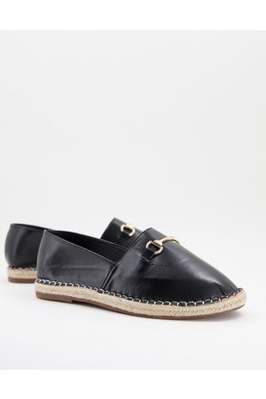 Truffle Collection Faux leather metal trim espadrilles in black