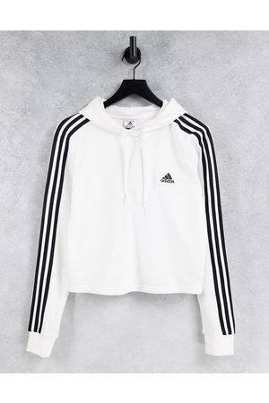 adidas Adidas Training cropped hoodie with three stripes in white