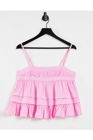 ASOS DESIGN Square neck pin tuck sun top with frill hem in pink